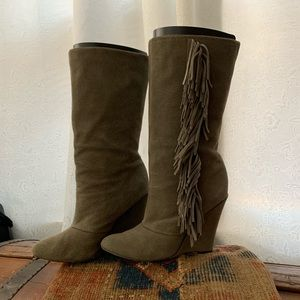Grey suede fringe boots
